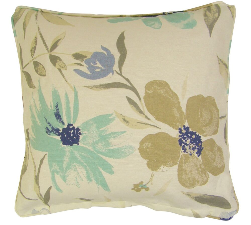 2x filled duck egg blue cream cotton blend floral cushions. Black Bedroom Furniture Sets. Home Design Ideas