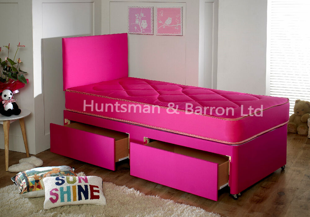 Single Divan Bed With Mattress With Drawers Option Girls Pink Princess 3ft Bed Ebay