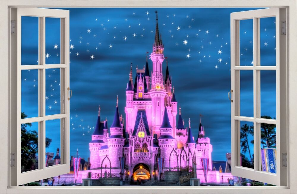 3d effect window wall stickers fantasy castle sticker for Castle wall mural sticker