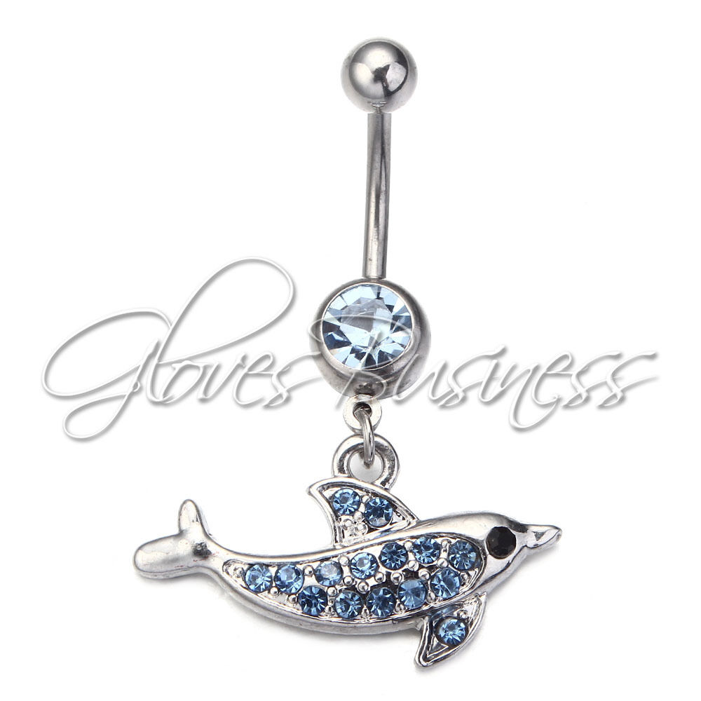 New dolphin dangle navel belly button ring piercing for Belly button navel jewelry