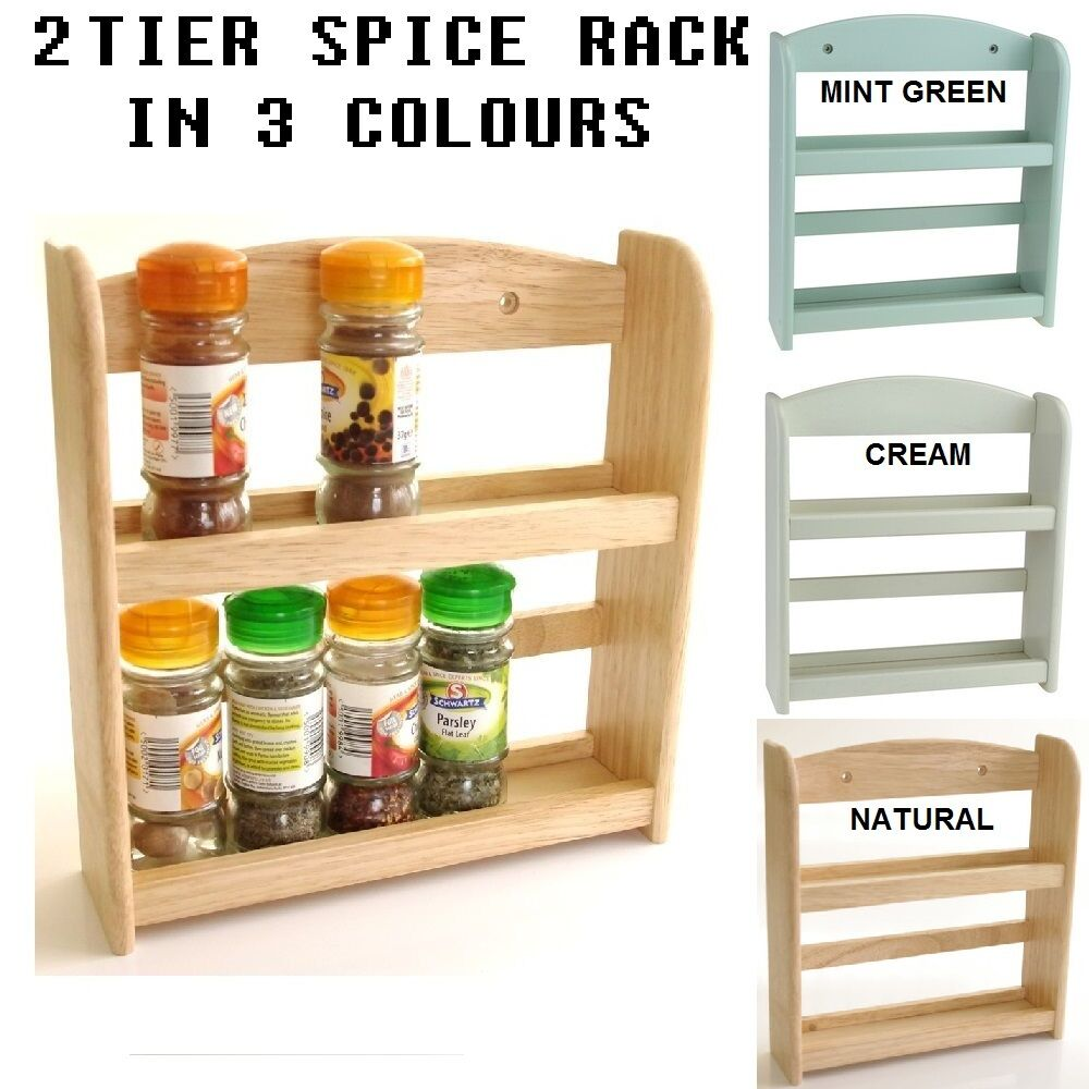 New 2 Tier Wall Mounted Wood Wooden Herb Storage Jar