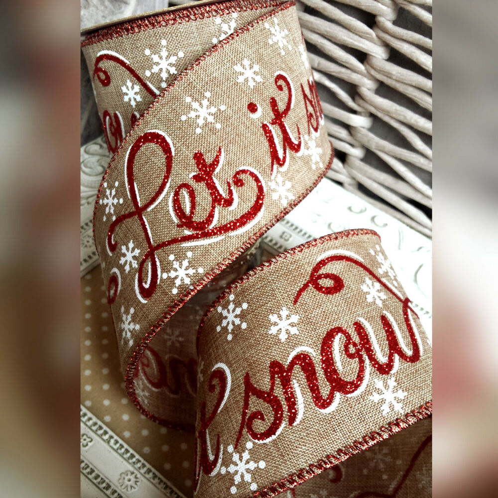 Wired Hessian Let It Snow Christmas Ribbon Gift Bow Cake