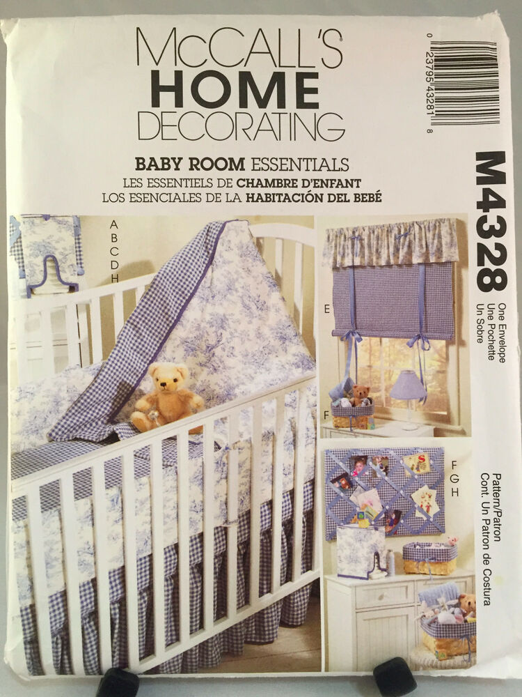 Mccalls M4328 Baby Room Crib Quilt Bumper Skirt Decorating