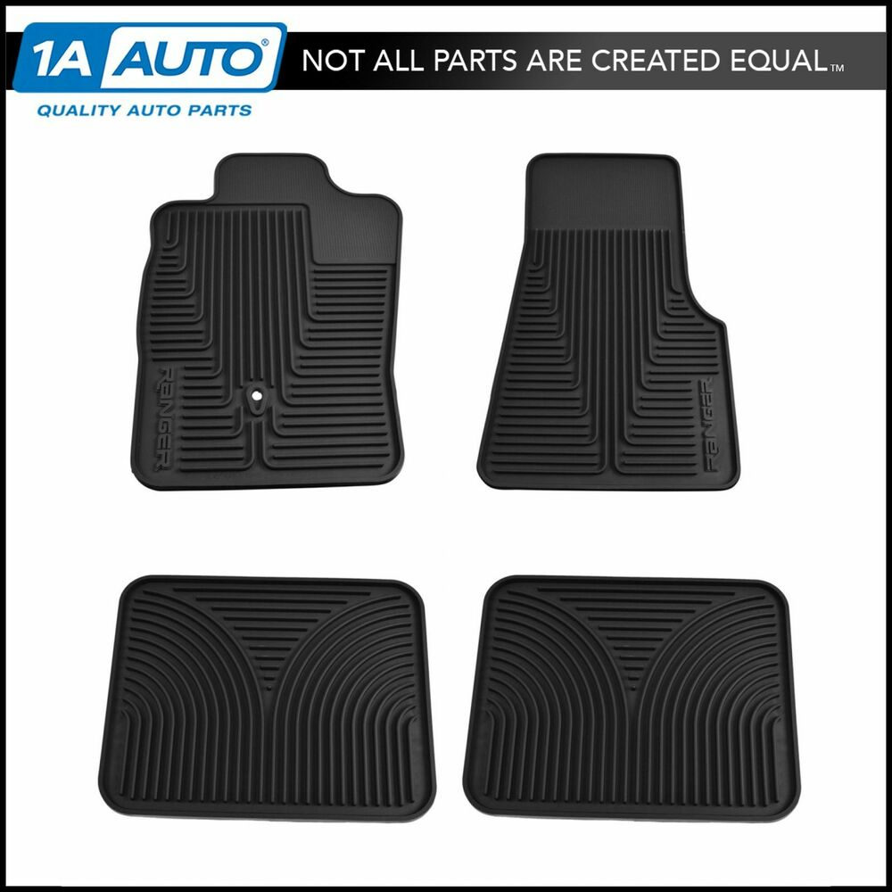 Oem All Weather Black Rubber Floor Mats Front Amp Rear Set