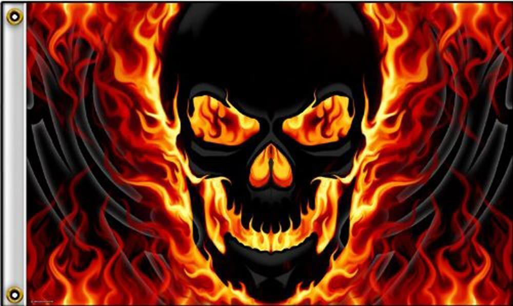 RED YELLOW FLAME SKULL DELUXE 3X5 FLAG FL450 Skeleton Head