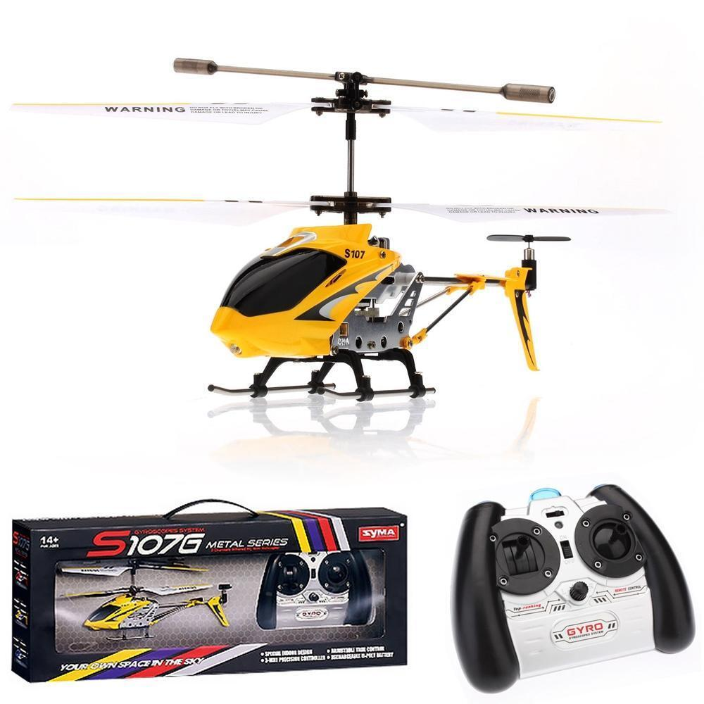 new syma yellow s107g metal 3ch gyro gyroscope rc remote. Black Bedroom Furniture Sets. Home Design Ideas