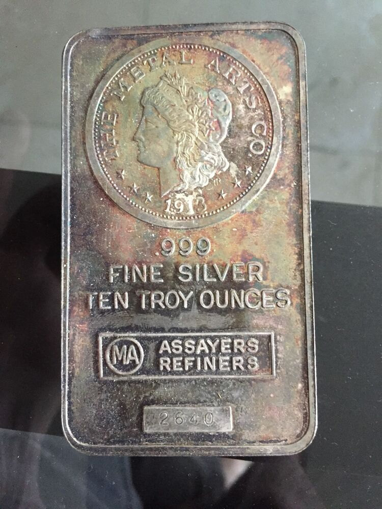 Antique 10 Ounce Silver Bar 10 Troy Ounces 999 Fine 10