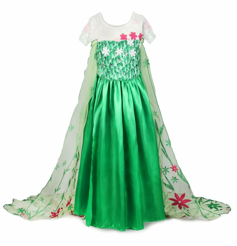 frozen fever inspired green foral elsa dress elsa costume ebay. Black Bedroom Furniture Sets. Home Design Ideas