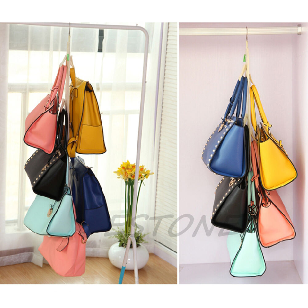 4 hooks handbag purse bag holder shelf hanger hanging rack for Hooks to hang purses