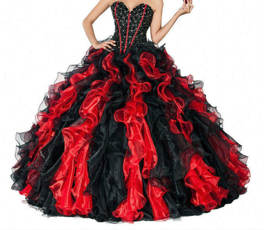 Red And Black Gown: New Red/Black Quinceanera Dresses Ball Prom Formal Evening