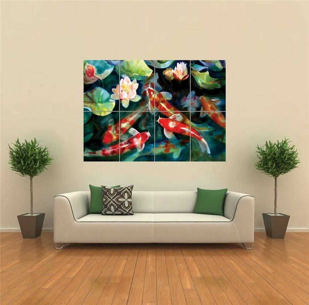 Water fish pond koi carp new giant poster wall art print for Koi carp wall art