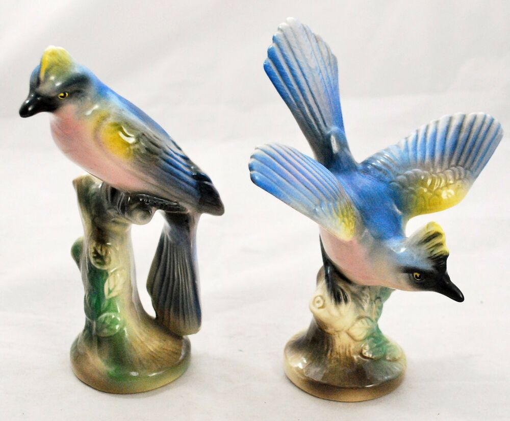 Vintage Pair Set Ceramic Bird Figurines Shabby Tropical