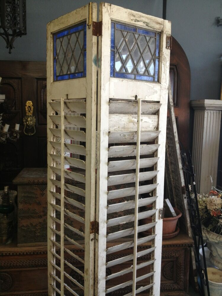 wooden shutters old vintage antique with leaded stained glass ebay