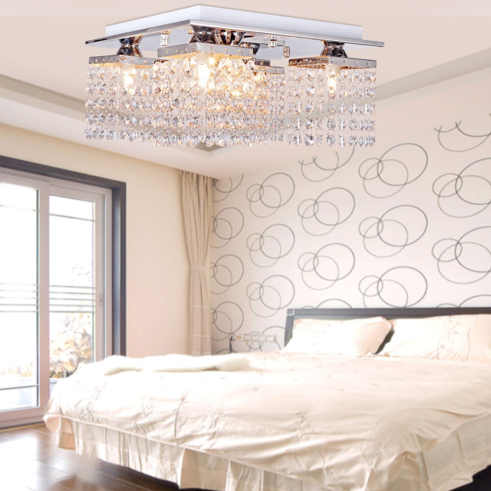 Modern Square Chandelier 12 Crystal Pendant Lamp Ceiling