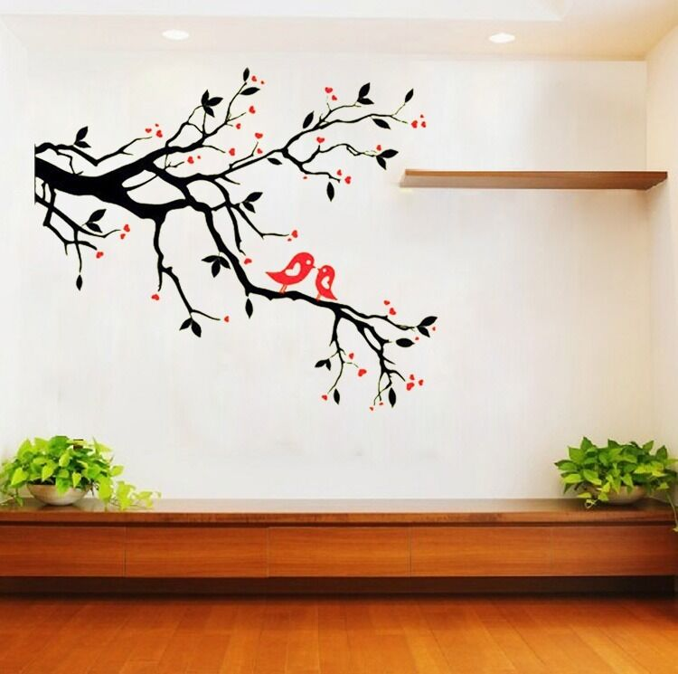 Black tree red bird removable vinyl wall decal sticker for Black tree mural