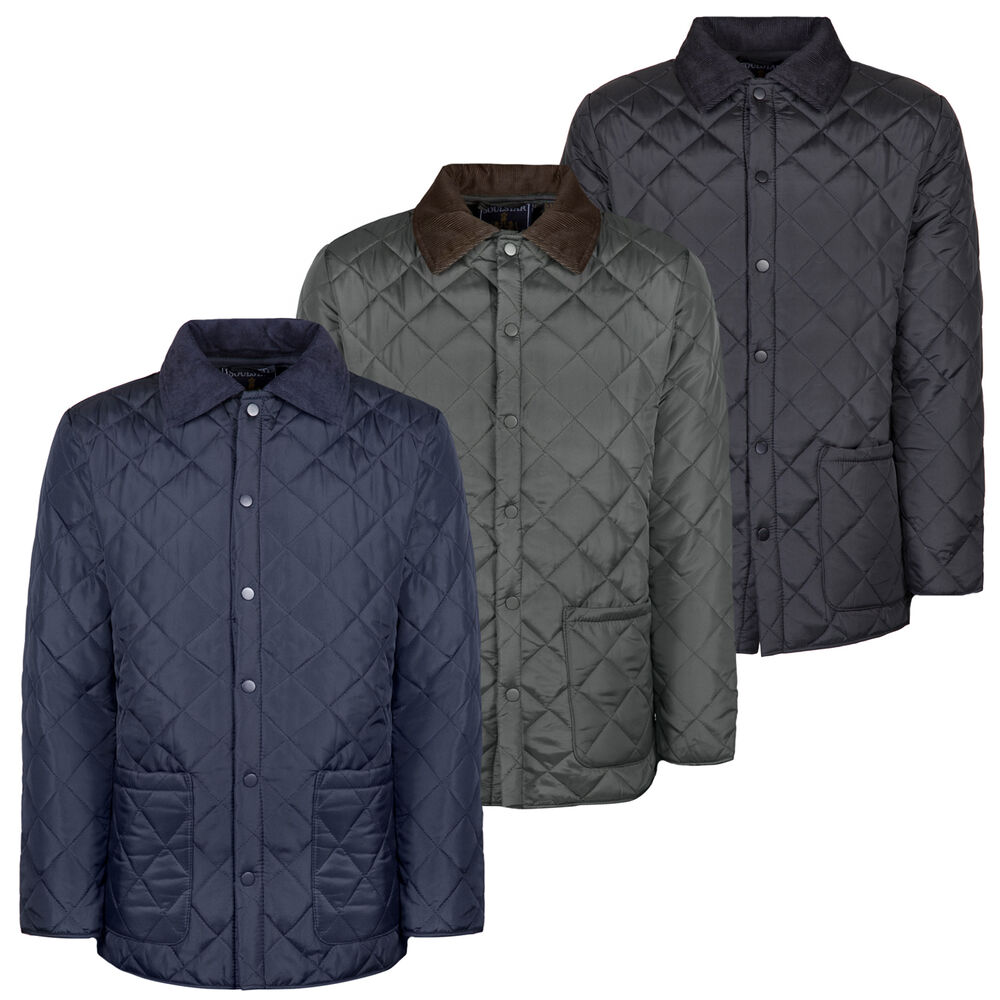 Soul Star Mens Diamond Quilted Jacket Padded Cord Patches