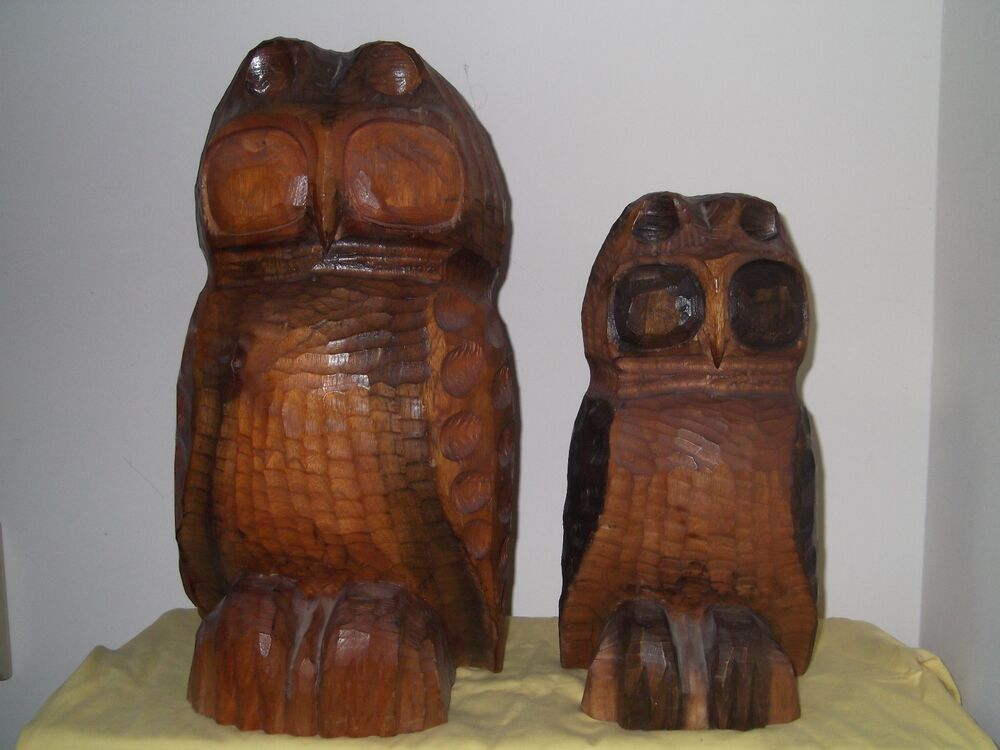 Large Hand Carved Wooden Owls From Jamaica Circa 1978 Ebay