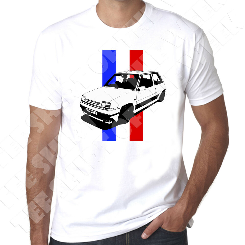 renault 5 gt turbo french tricolore flag stripe mens white t shirt 100 cotton ebay. Black Bedroom Furniture Sets. Home Design Ideas