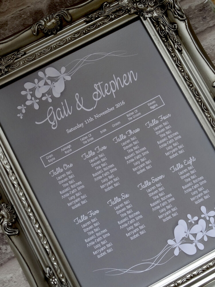 A3 butterfly frame wedding table seating plan
