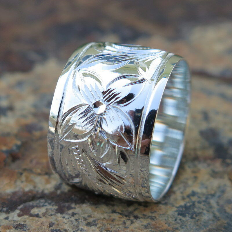 Hawaiian Jewelry Sterling Silver Scrolling Flower Wedding Ring Band 15mm SR11