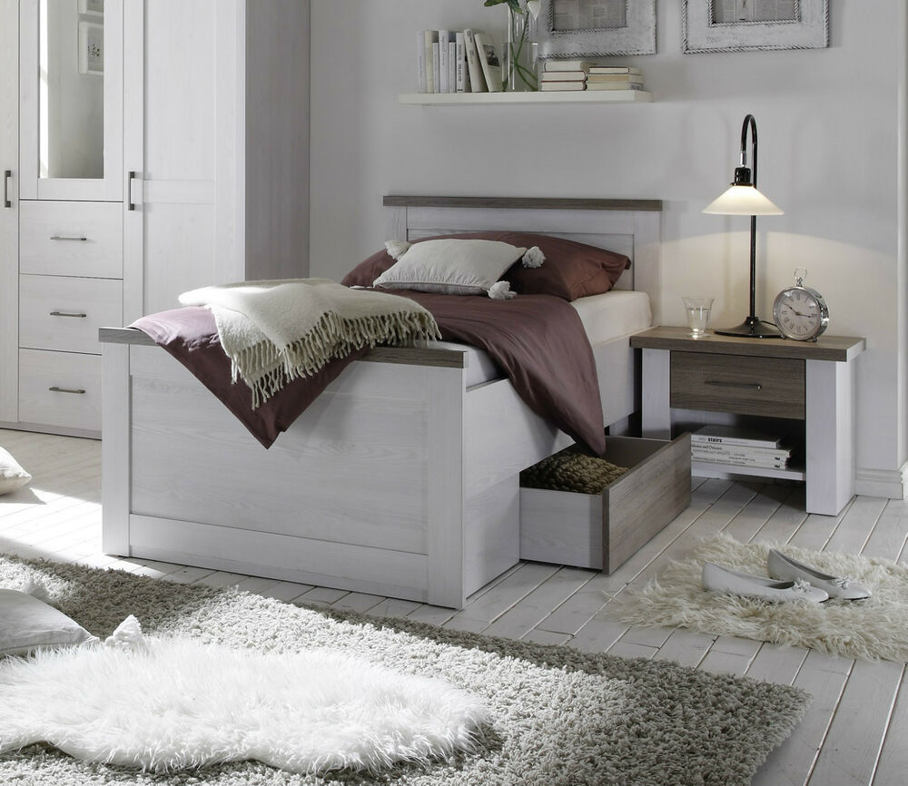 bett luca bettgestell 1 schubkasten einzelbett pinie wei 100x200 cm ebay. Black Bedroom Furniture Sets. Home Design Ideas