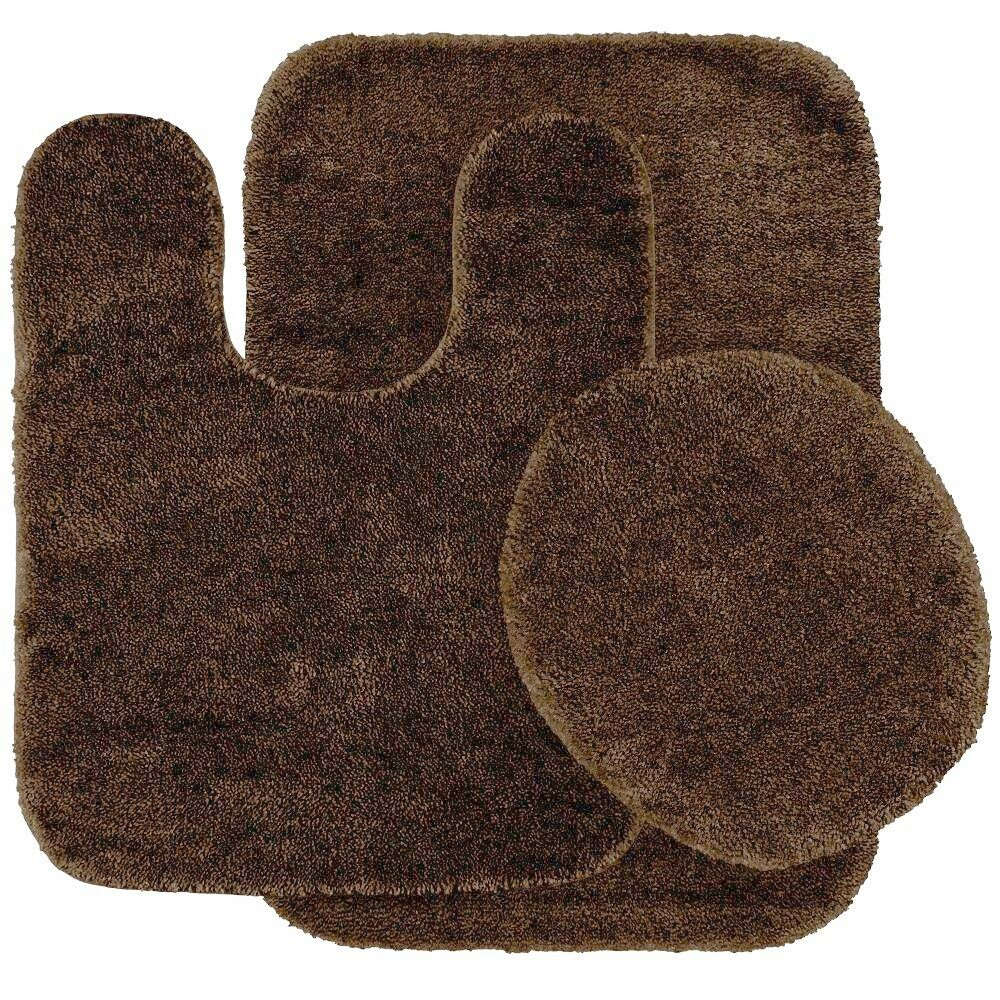 3 piece bath rug set chocolate brown bathroom mat contour rug lid cover nonslip ebay for Chocolate brown bathroom rugs