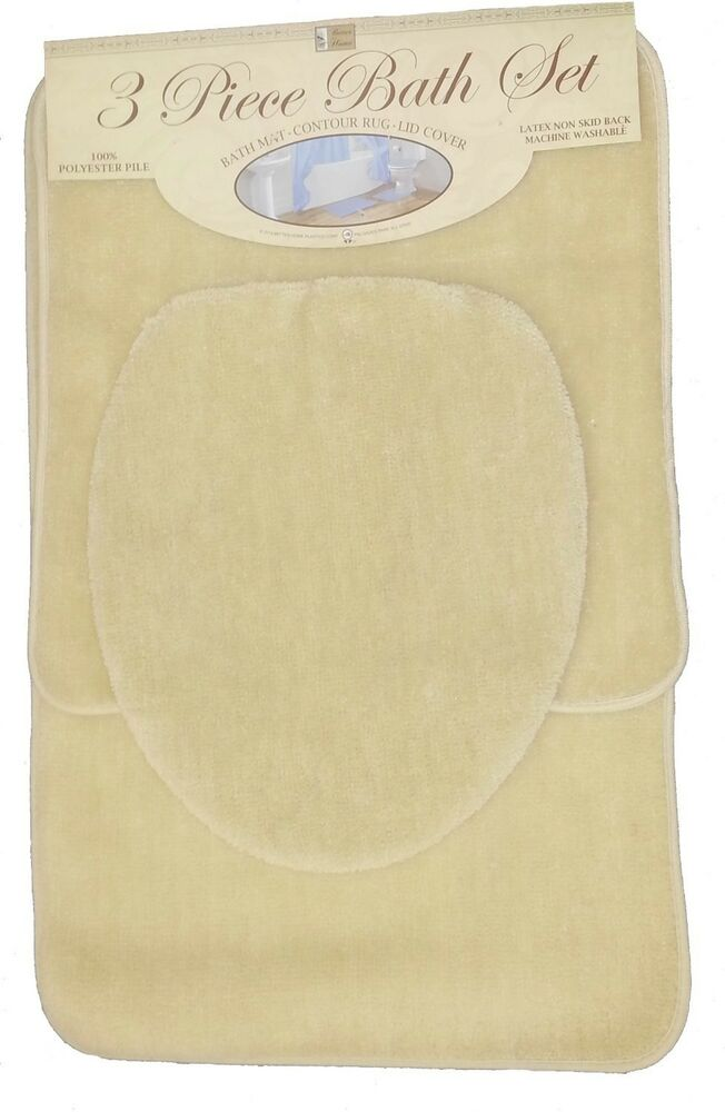 3 piece bath rug set beige bathroom mat contour rug lid for Beige bathroom set