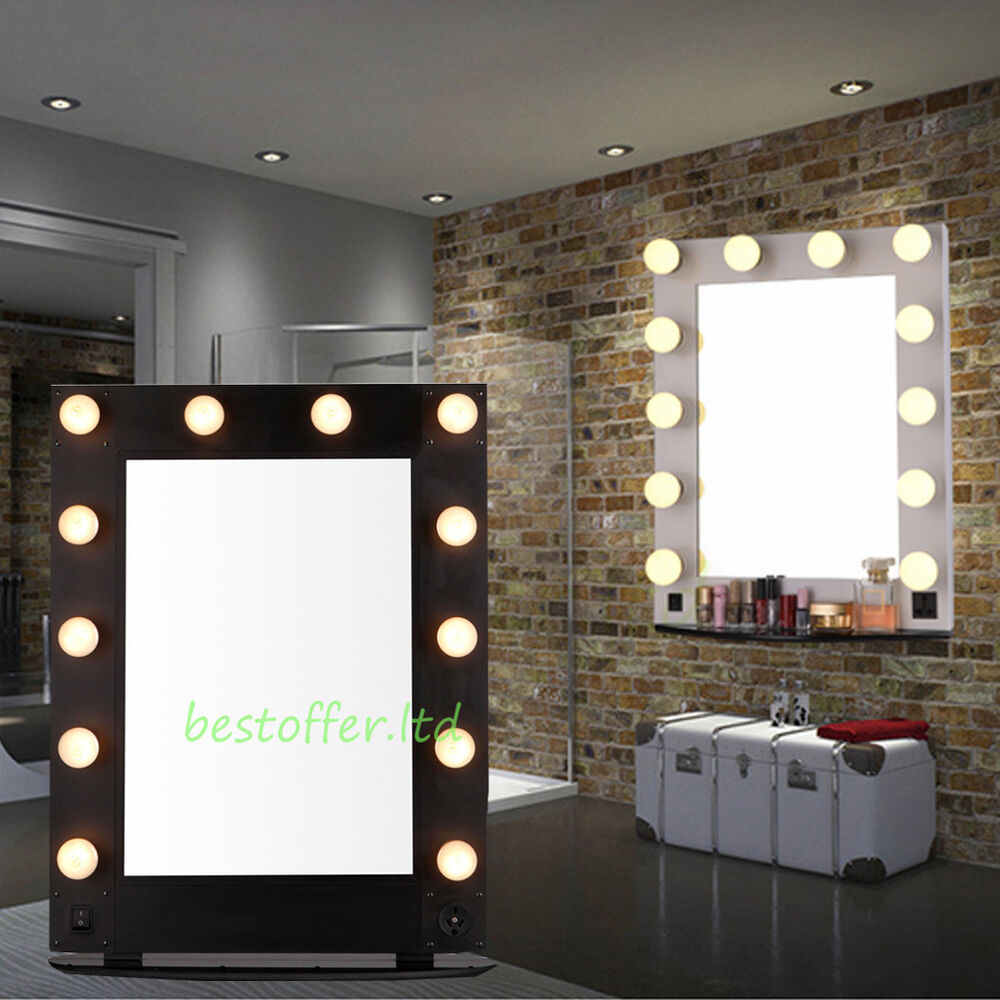 new white vanity lighted hollywood makeup mirror with dimmer stage beauty mirror ebay. Black Bedroom Furniture Sets. Home Design Ideas