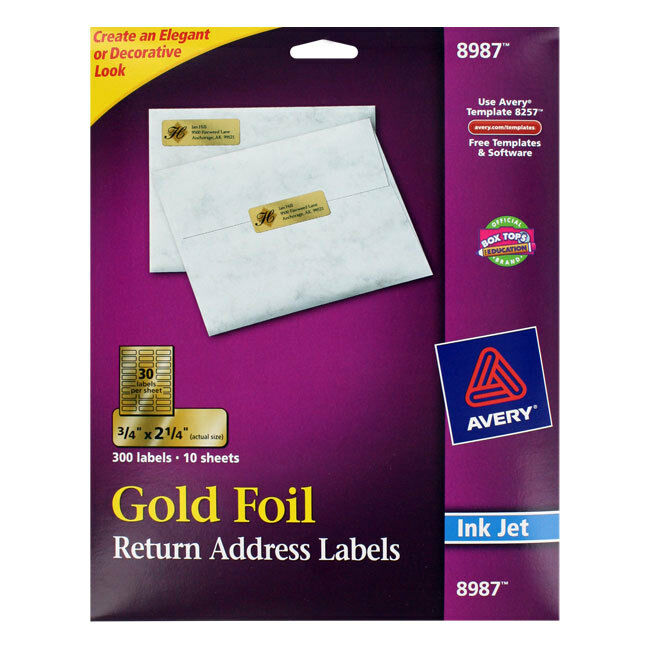 """Avery Foil Mailing Labels, 3/4 X 2 1/4, Gold, 300/pack"