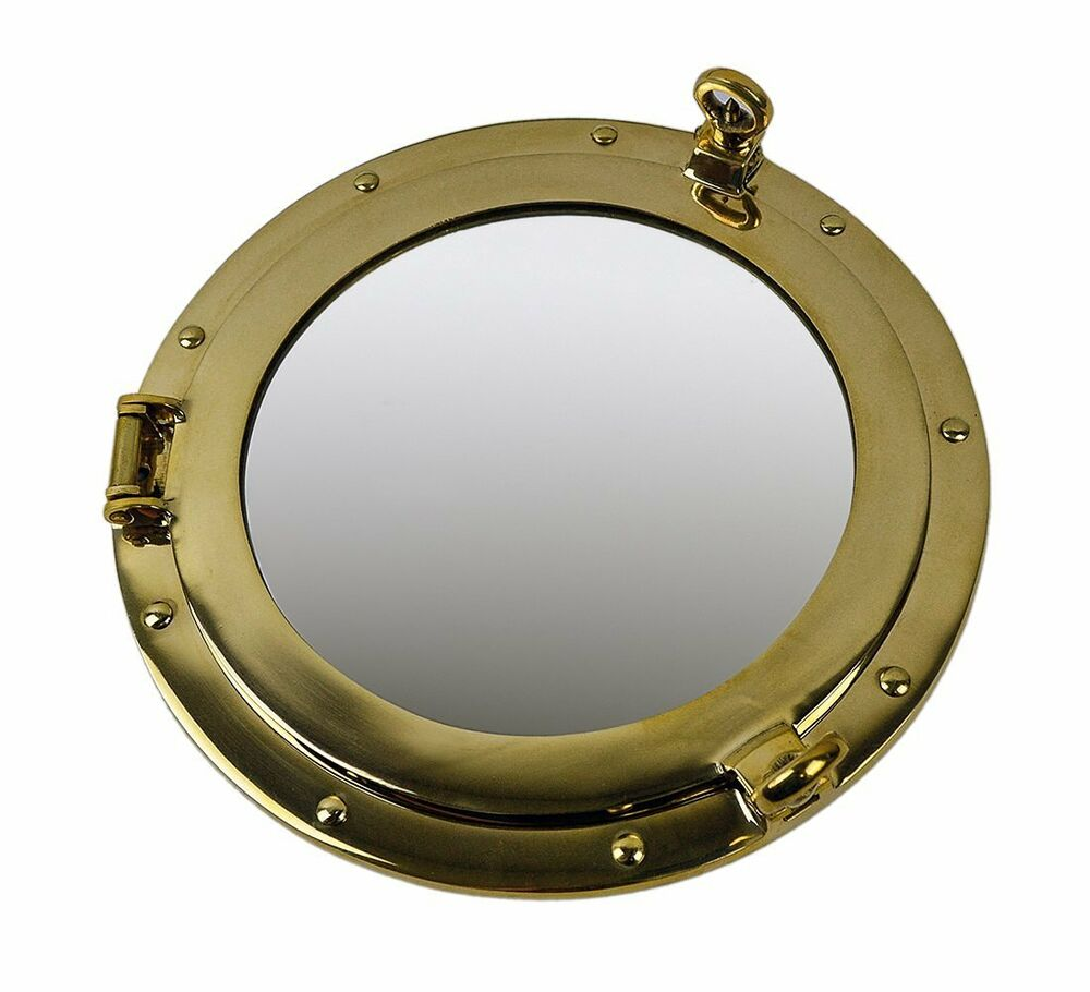 Quot solid brass porthole mirror nautical wall mount ship