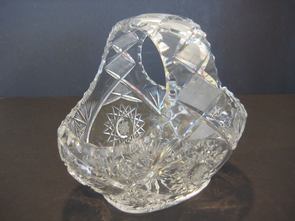 Vintage american brilliant cut crystal glass basket 7 t for How to cut yourself with glass