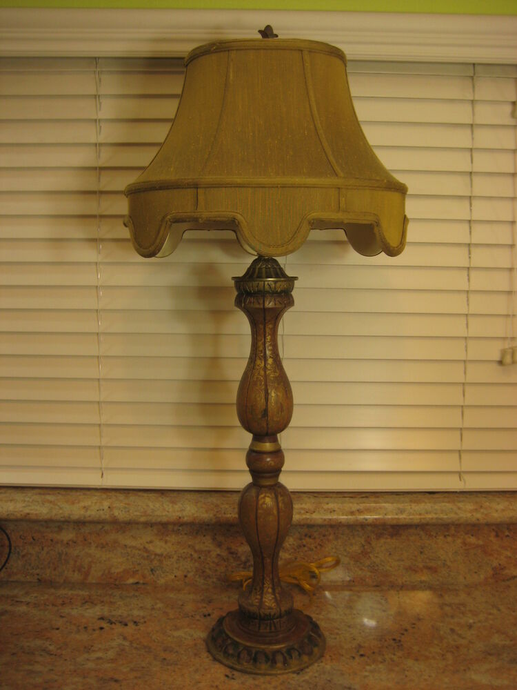 vintage hand carved painted wood table lamp with shade 37 tall 8 lbs ebay. Black Bedroom Furniture Sets. Home Design Ideas