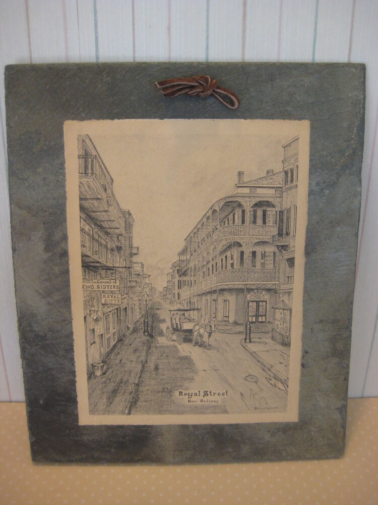 "Vintage ""Royal Street New Orleans"" Print On Roofing Slate ..."