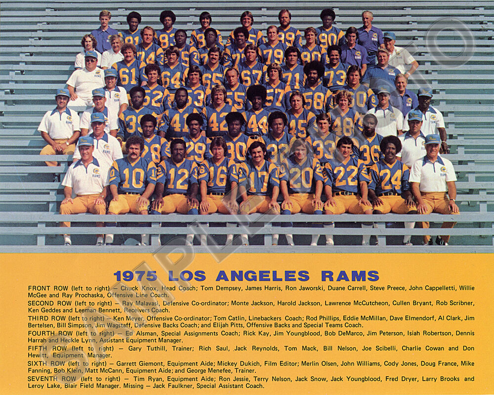1975 Los Angeles Rams Nfl Football 8x10 Team Photo Picture