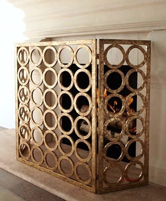 contemporary italian gold iron circles modern fireplace fire screen 50