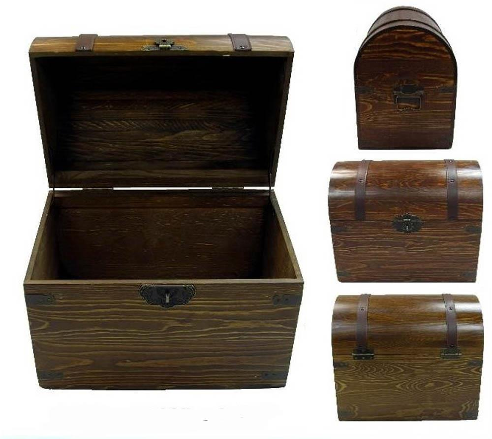 Large wooden treasure chest storage box novelty old for Storage treasures