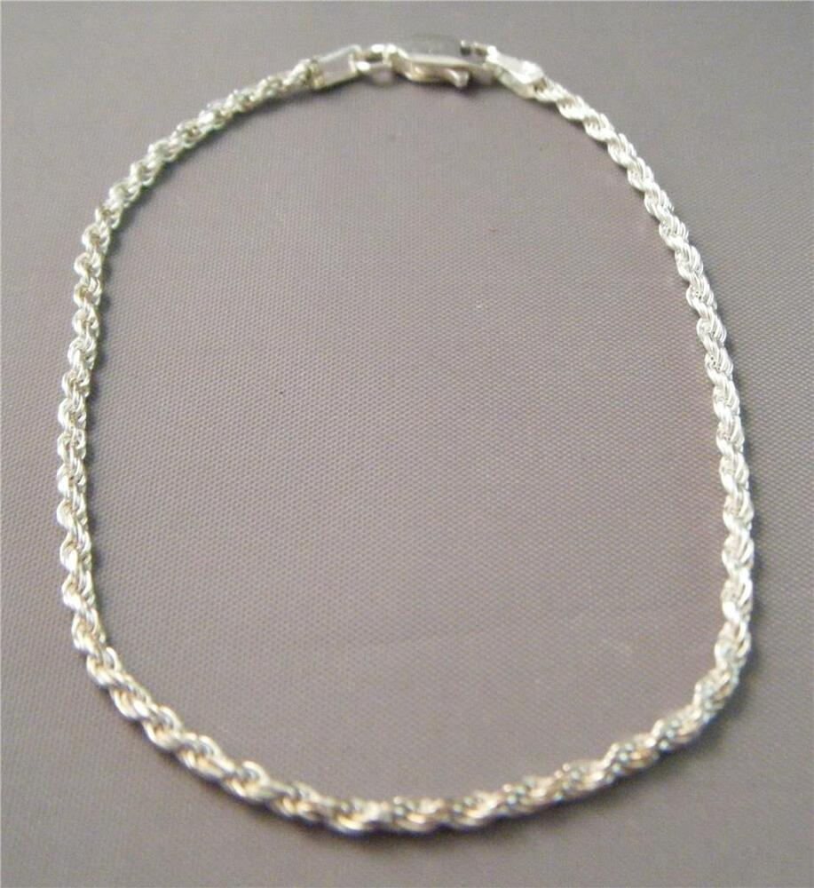 Silver Rope Bracelet: IBB Italy 925 Sterling Silver 2mm Twisted Helix Rope Chain