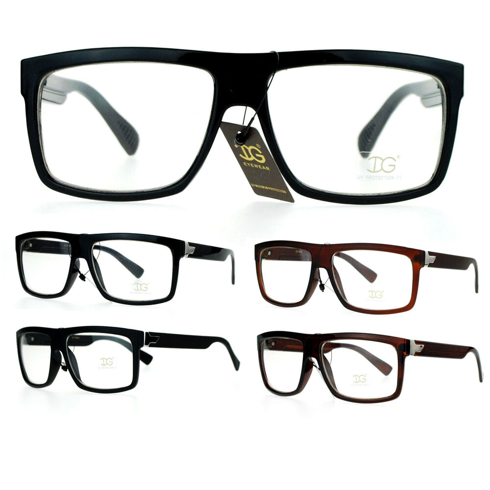 SA106 Mens Mob Flat Top Rectangular Plastic Frame Clear ...