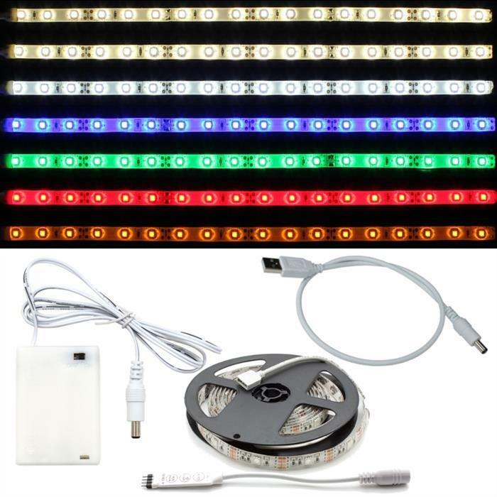 led rgb streifen strip leiste 5v dc stecker usb kabel batteriebox ebay. Black Bedroom Furniture Sets. Home Design Ideas
