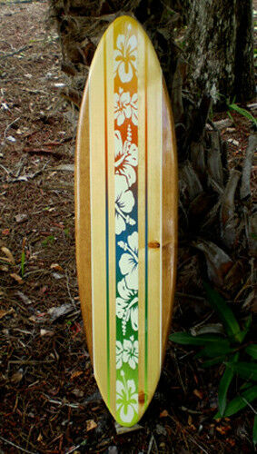 tropical blend longboard art beach wood surfboard wall art home beach decor ebay. Black Bedroom Furniture Sets. Home Design Ideas