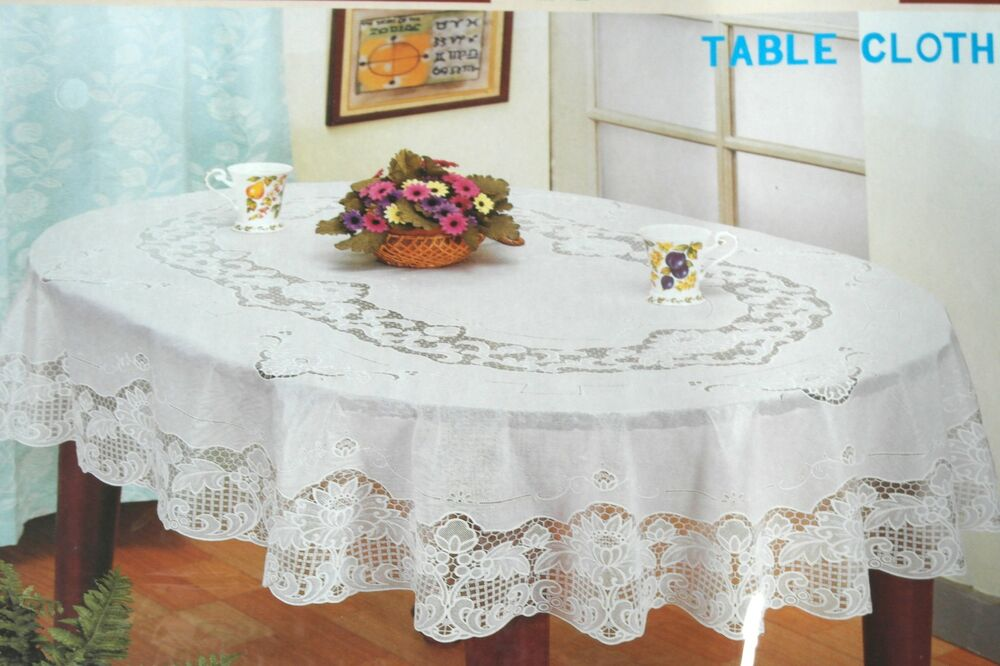 53 1/8x70 7/8in OVAL White TABLECLOTH Tablecloth SHEET Flower pattern Vinyl NEW : eBay