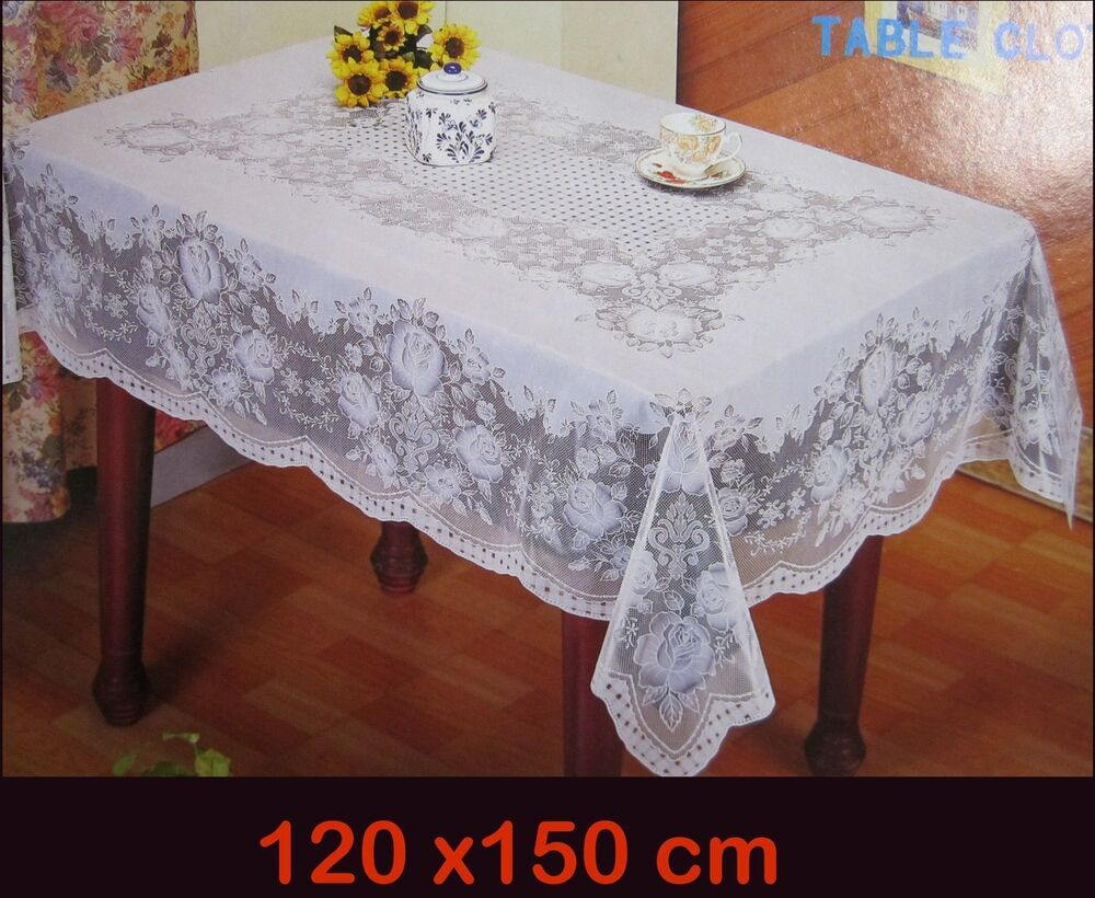 47 3 16x59 1 8in White Rectangular Tablecloth Sheet Floral