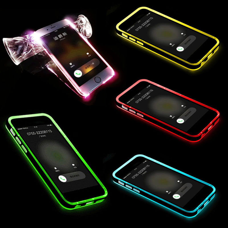 Call Led Flash Clear Back Frame Case Cover Phone Protector