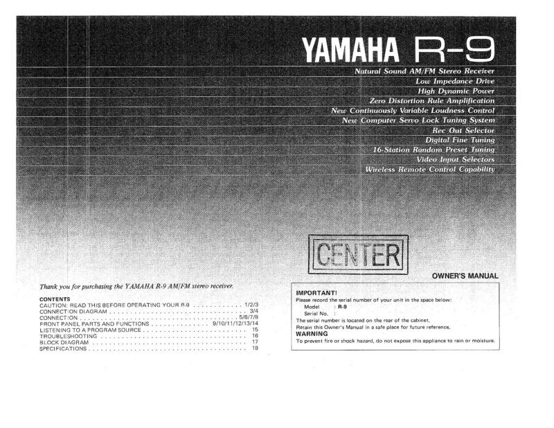 yamaha r 9 receiver owners manual ebay