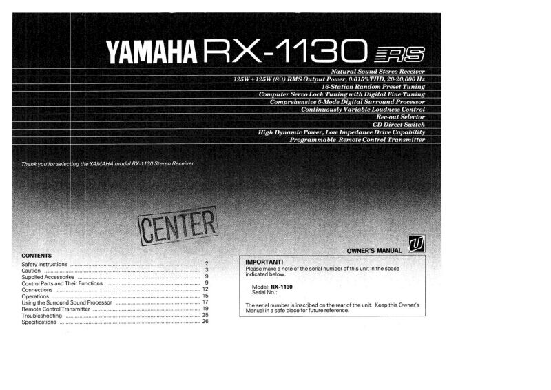 Yamaha rx 1130 receiver owners manual ebay for Yamaha rx v565 manual