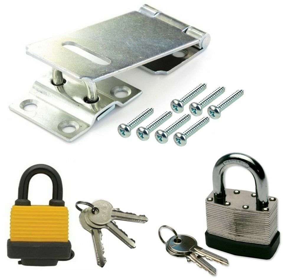 Security Padlock Hasp And Staple Gate Shed Lock Latch Pad