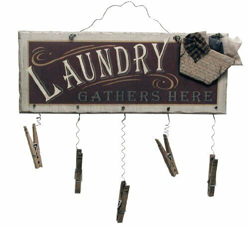Clothespin laundry room sign wood wall art bathroom home for Room decor signs
