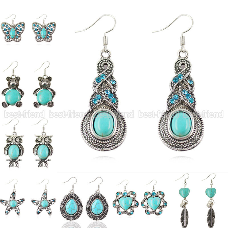 Fashion jewelry women 39 s tibetan silver drop vintage for Turquoise colored fashion jewelry