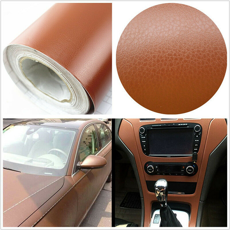 3d brown leather texture sheet car auto interior trim vinyl film wrap sticker ebay. Black Bedroom Furniture Sets. Home Design Ideas