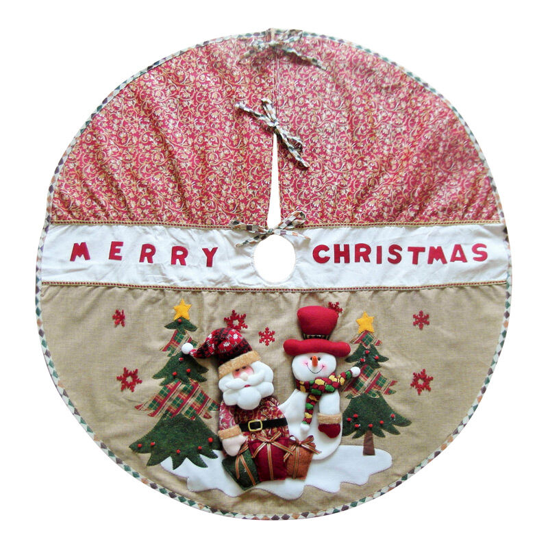Luxury Country Christmas Tree Skirt - Decoration - 3D Santa u0026 Snowman - 42u0026quot; | eBay